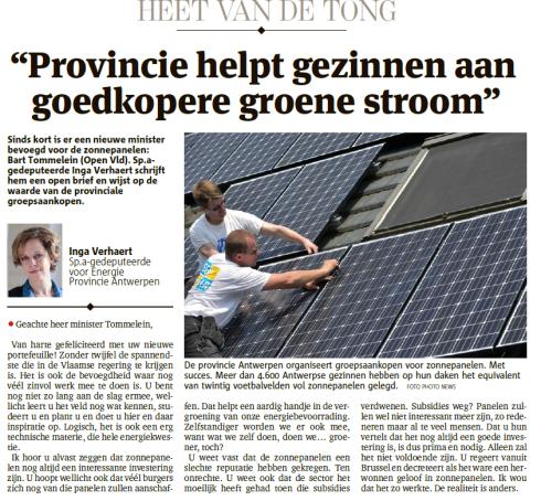 Provincie helpt gezinnen aan goedkopere groene stroom